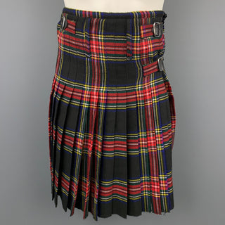 WENCHES AT WORK CREATION Size 30 Black & Multi-Color Plaid Acrylic Pleated Kilt