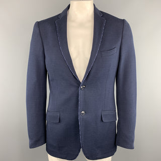 ETRO Size 44 Navy Textured Long Cotton Notch Lapel Sport Coat