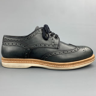 SANTONI Size 8 Navy Perforated Leather Wingtip Lace Up