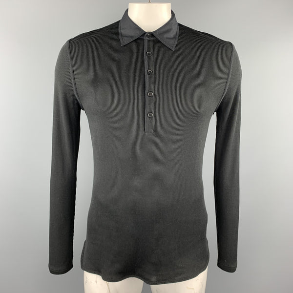 JOHN VARVATOS Size L Black Ribbed Cotton / Silk Ribbed Buttoned Long Sleeve Polo