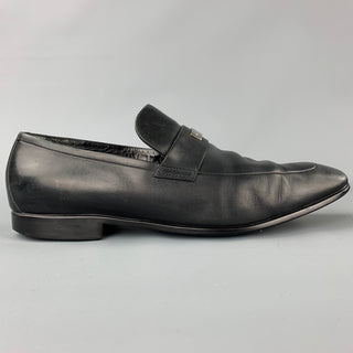 GUCCI Size 11.5 Black Leather Slip On Loafers