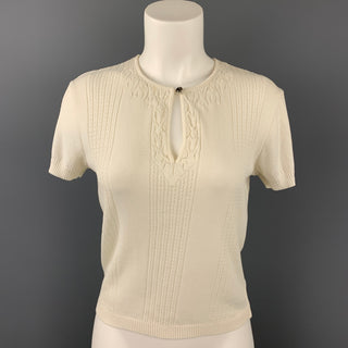 CHANEL Size 8 White Knitted Textured Cotton Blouse