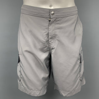 BRUNELLO CUCINELLI Size 34 Grey Polyester Cargo Swim Trunks