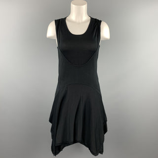 BALENCIAGA Size 4 Black Knitted Silk Tank Overlay Sleeveless Dress