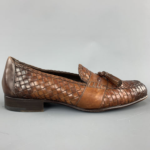 TOM FORD Size 11 Tan Woven Leather Slip On Loafers