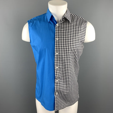 RAF SIMONS Size 36 Black & White Mixed Fabrics Cotton Button Up Sleeveless Shirt