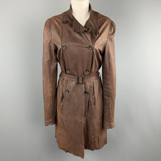 SISII Size M Brown Distressed LeatherDouble Breasted Puff Sleeve Coat