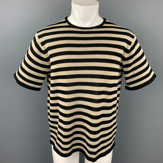 WALENODE Size S Black & Beige Stripe Cotton Crew-Neck Pullover
