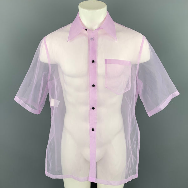 CHIN MENS Size M Lavender See Through Organza Button Up Short Sleeve Shirt