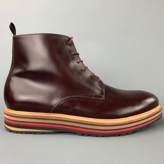 PAUL SMITH Size 10 Burgundy Leather Lace Up Boots