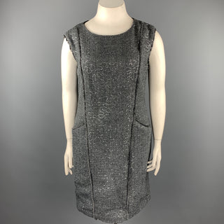 MICHAEL by MICHAEL KORS Size 14 Grey Boucle Sequined Polyester Blend Shift Dress