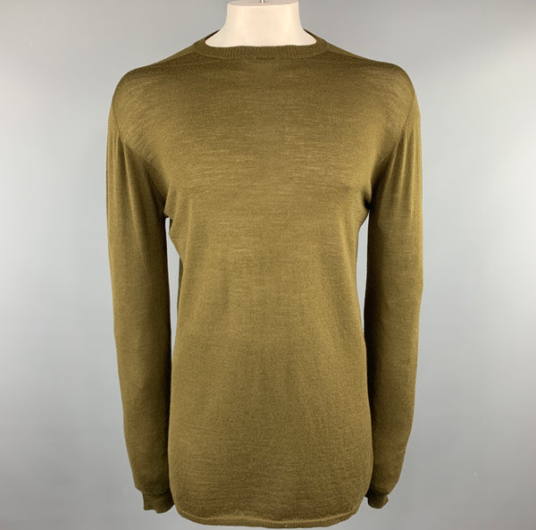 RICK OWENS SISYPHUS F/W 18 Size M Olive Solid Lana wool Crew-Neck Pullover Sweater