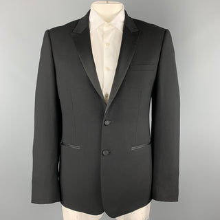 SANDRO Size 44 Black Wool Satin Peak Lapel Tuexo Sport Coat