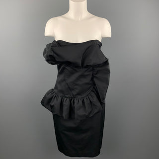 GIAMBATTISTA VALLI Size 8 Black Cotton / Silk Ruffled Strapless Cocktail Dress