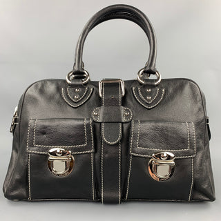 MARC JACOBS Black Contrast Stitching Leather Top Handles Handbag