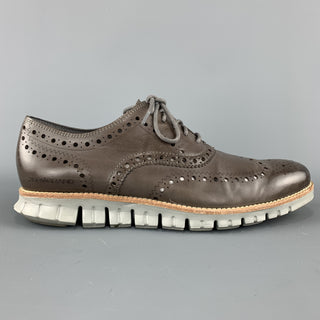 COLE HAAN Size 8.5 Taupe Brown Perforated Leather Athletic Sole Lace ZEROGRAND Up