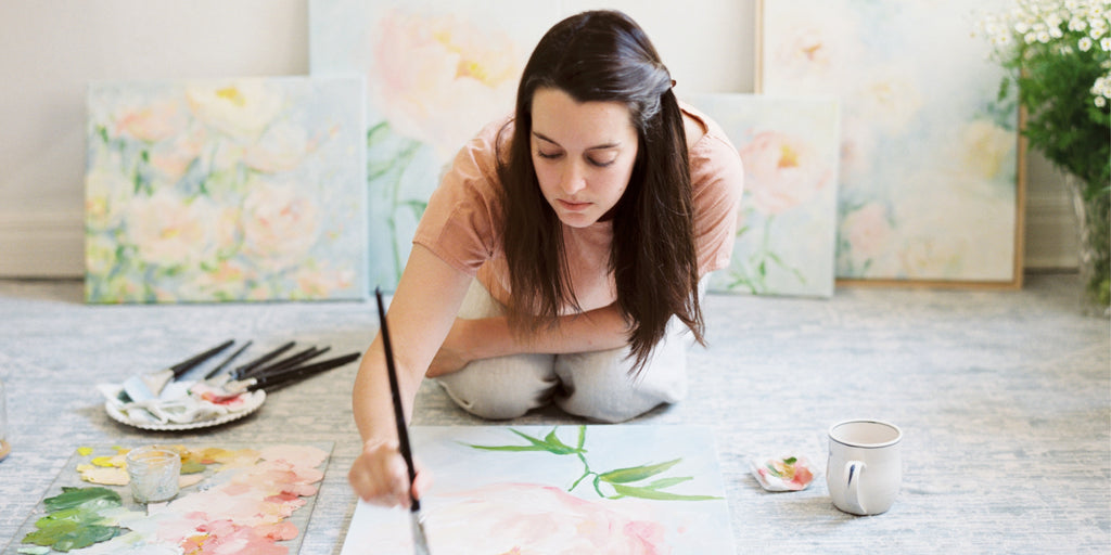 Floral Abstract Artist Michelle Boyd Behind the Scenes in Studio