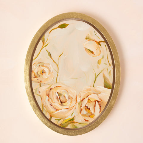 """Roses De Pêche"" - 7.5x10"" Oval Available Painting"