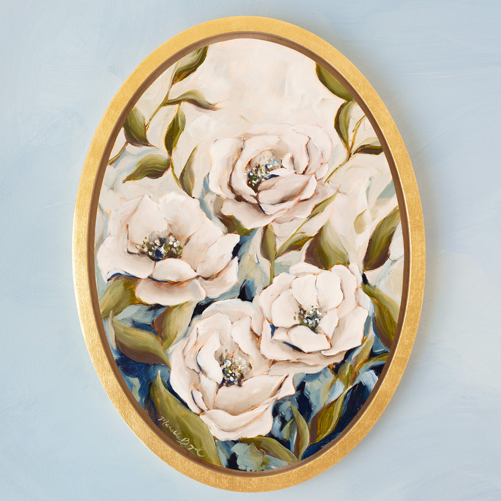 """Quatre Roses"" - 10x14"" Oval Available Painting"