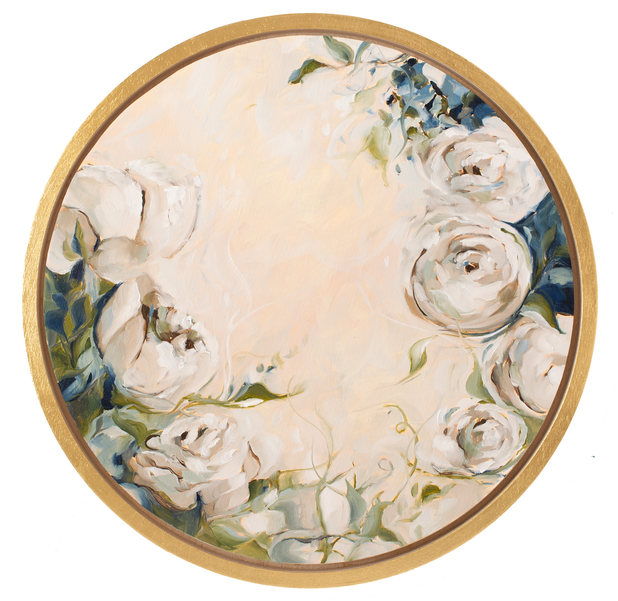"""Autour Du Jardin"" - 16"" Circle - Available French Collection Painting"