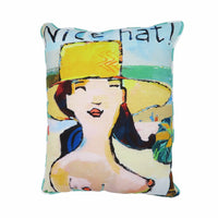 Nice Hat Pillow by David Scott Meier at FantaSea Coastal Home beach house decor