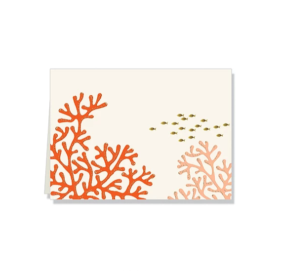 Red coral branches boxed thank you gift note cards at FantaSea Coastal Home beach house decor