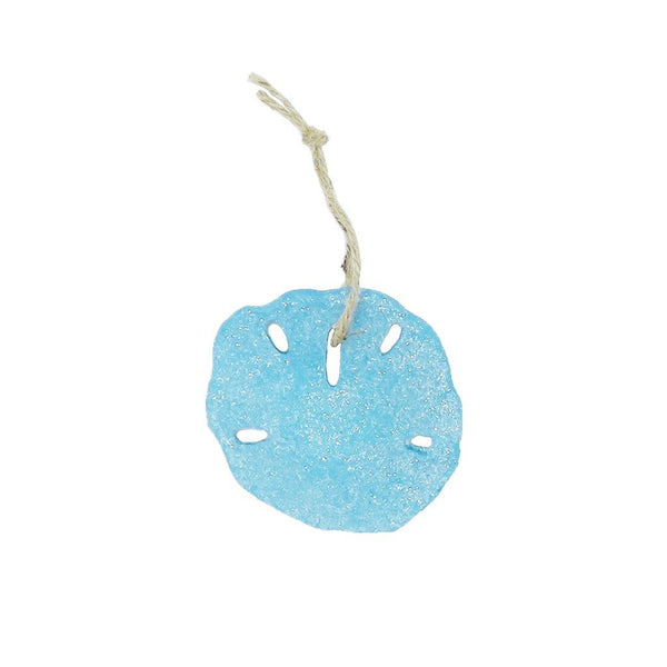 Glitter sand dollar resin ornament for holiday christmas tree decor at FantaSea Coastal Home beach house decor