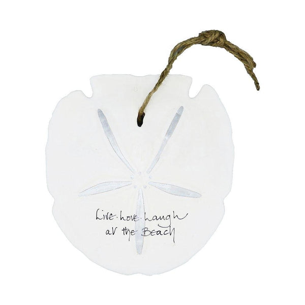 Sand Dollar Ornament - live, love, laugh