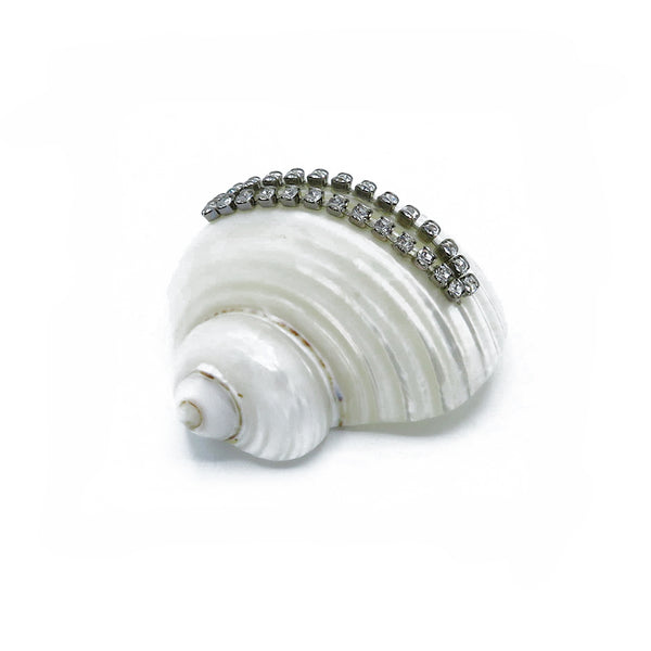 Jeweled sea shells place card holders at FantaSea Coastal Home beach house decor