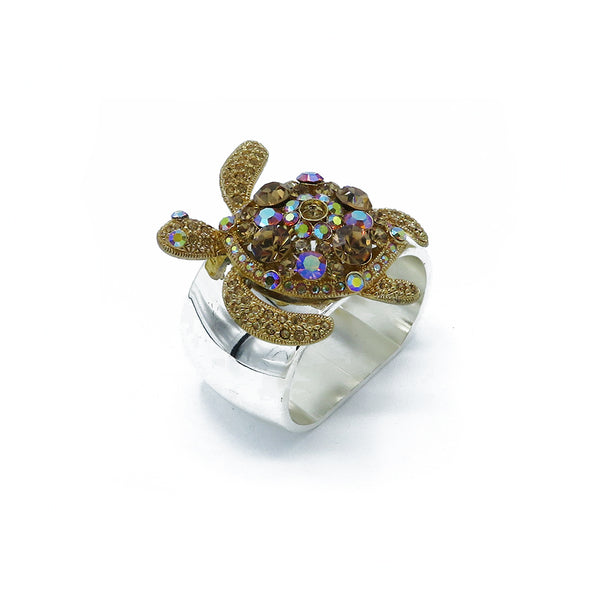 Swarovski crystals sea turtles napkin rings at FantaSea Coastal Home beach house decor