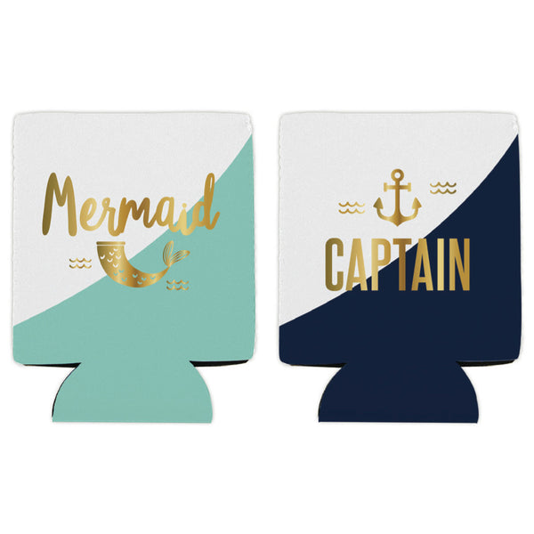 Mermaid Tail & Captain foam drink Koozies at FantaSea Coastal Home
