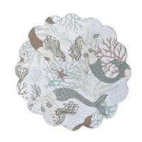 Mystic Echoes round cotton quilted placemats & napkins by C&F at FantaSea Coastal Home beach house decor