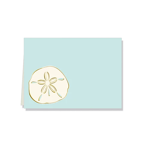 Aqua sand dollar boxed thank you gift note cards at FantaSea Coastal Home beach house decor