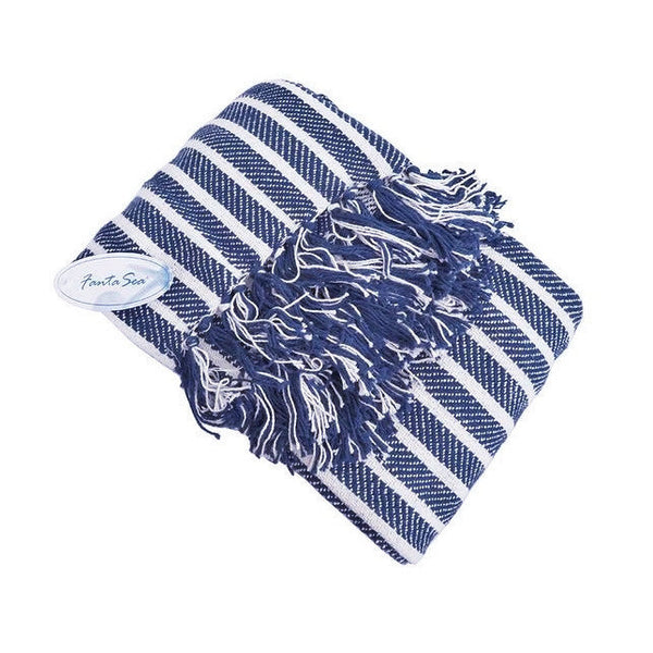 Navy Stripes nautical throws at FantaSea Caostal Home beach house decor