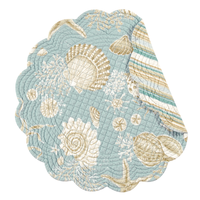 Natural shells round cotton quilted placemats & napkins by C&F at FantaSea Coastal Home beach house decor
