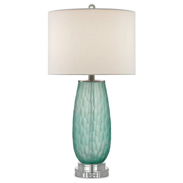 Currey & Company green sea glass Raffine Table Lamp Lighting at FantaSea Coastal Home beach house decor