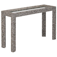 Currey & Company Batad sea shells entryway console table at FantaSea Coastal Home