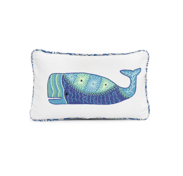 Embroidered whale oblong pillows at FantaSea Coastal Home beach house decor