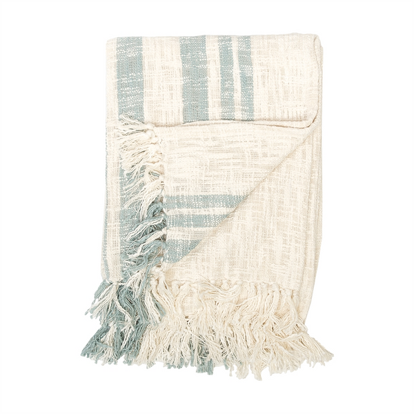 Slubbed casual beachy stripes throws at FantaSea Coastal Home beach house decor