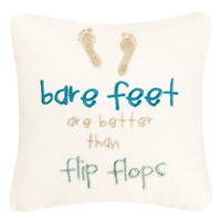 Bare feet embroidered linen beach house coastal toss pillows at FantaSea Coastal Home beach house decor