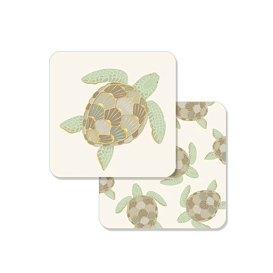 Sea turtle pub coasters set for bar cart by Faux Designs at FantaSea Coastal Home beach house decor