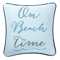 On Beach Time Pillow at FantaSea Coastal Home beach house decor