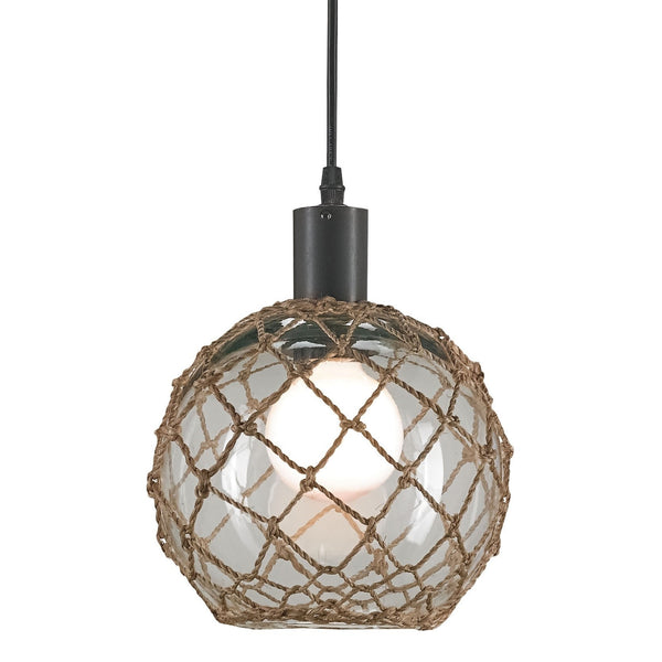 Fairwater glass & knotted rope pendant lights at FantaSea Coastal Home beach house decor