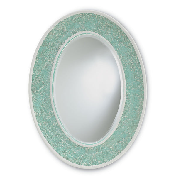 Eos Aqua Sea Glass Oval Mirror at FantaSea Coastal Home beach house decor