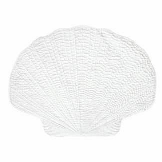 Shaped scallop sea shell cotton quilted placemats and napkins by C&F at FantaSea Coastal Home beach house decor