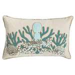 Aqua octopus & sea life hand beaded down filled pillow by C&F at FantaSea Coastal Home beach house decor