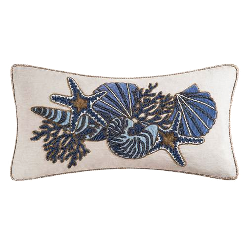 Navy sea shells sea life hand beaded down filled pillow by C&F at FantaSea Coastal Home beach house decor