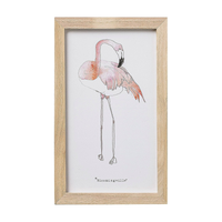 Cute pink flamingo girls childrens baby nursery framed watercolor artwork at FantaSea Coastal Home beach house decor
