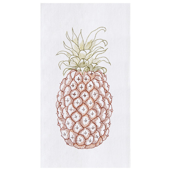 Pineapple embroidered kitchen guest hand towels at FantaSea Coastal Home beach house decor