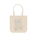 Beach Hair Don't Care cotton canvas aqua tote book coastal bag
